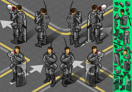 security uniform: Detailed illustration of a isometric set of eight policemans standing Illustration