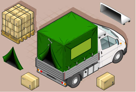 rear wheel: isometric white van with tarpaulin