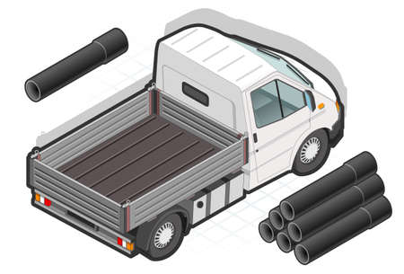 detailed illustration of a isometric white van and some pipes Vector