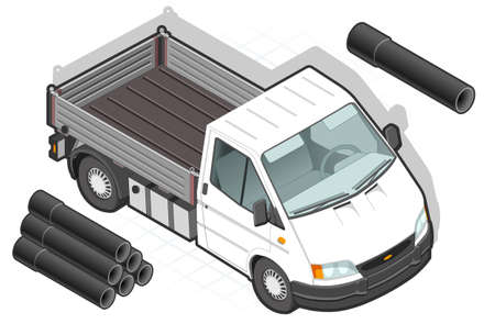 rear wheel: detailed illustration of a isometric white van and some pipes