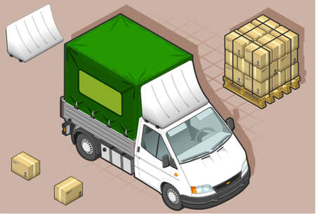 detailed illustration of a isometric white van in two position  Vector