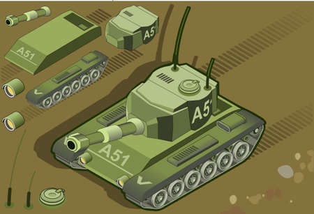 military tank: detailed illustration of a isometric tank