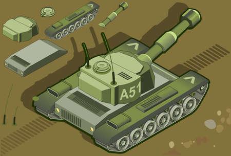 scheinwerfer: detaillierte Darstellung einer isometrischen Tank Illustration