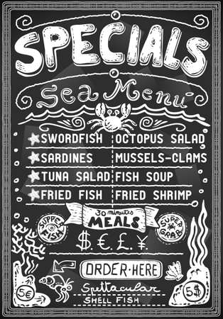 grab: vintage graphic blackboard menu for bar or restaurant