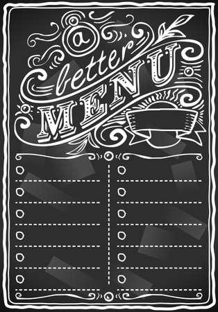 vintage graphic place card menu for bar or restaurant