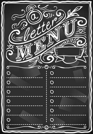 placeholder: vintage graphic place card menu for bar or restaurant