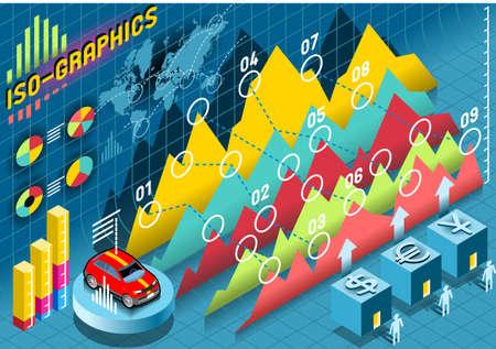 histogram: Isometric Infographic  Histogram Set Elements with car Illustration