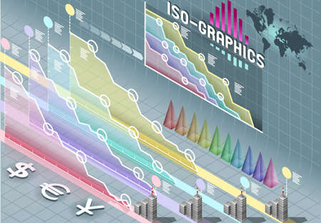 percentual: Isometric Infographic Set Elements with transparency Illustration