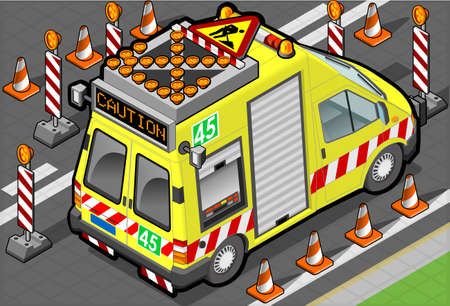 emergency light: isometric roadside assistance truck