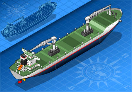 cargo ship: detailed illustration of a isometric cargo ship