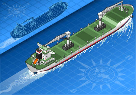 detailed illustration of a isometric cargo ship