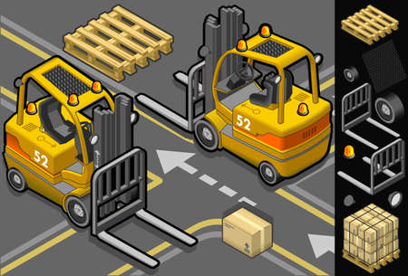 dais: isometric forklift in two different positions with some trans-pallets and packages