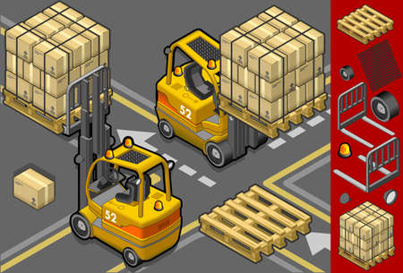 pallet: isometric forklift in two different positions with some trans-pallets and packages