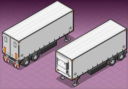 Gedetailleerde illustratie van een isometrisch sleeptouw frigo truck