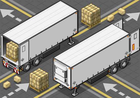 Gedetailleerde illustratie van een isometrische tow frigo vrachtwagen
