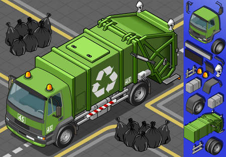 Detailed illustration of a isometric garbage truck  Vector