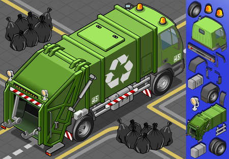 garbage bag: Detailed illustration of a isometric garbage truck