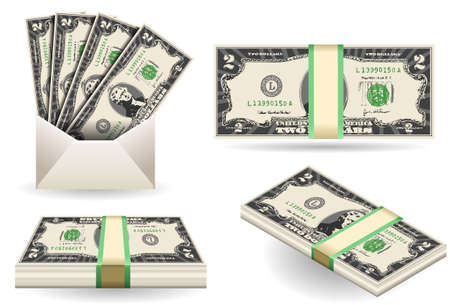two dollar bill: set of two dollars banknotes