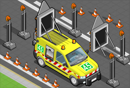 emergency light: isometric roadside assistance van