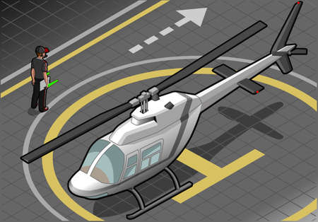 landed: isometric white helicopter landed in front view Illustration