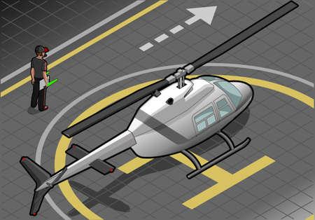 landed: isometric white helicopter landed in rear view