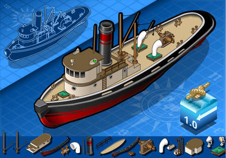 portholes: detailed illustration of a isometric old tugboat in front view Illustration