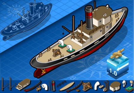 detailed illustration of a isometric old tugboat in rear view Vector
