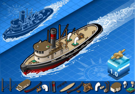 detailed illustration of a isometric old tugboat in front view Vector