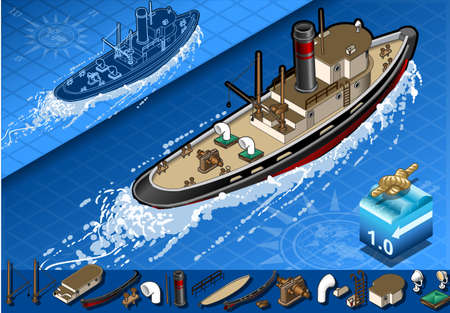 hull: detailed illustration of a isometric old tugboat in rear view