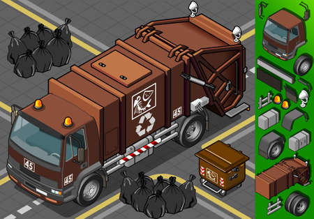 bag of soil: Detailed illustration of a isometric humid waste garbage truck  in front view