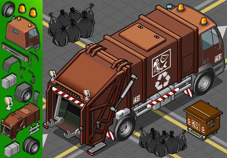 basura organica: Ilustración detallada isométrica de un camión de basura húmeda de residuos en la vista trasera