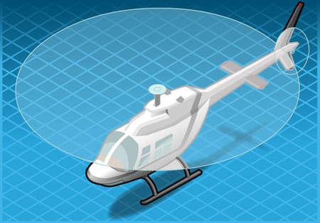 coast guard: helic�ptero blanco isom�trico en vuelo en la vista frontal