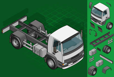isometric truck solo driving in front view Vector