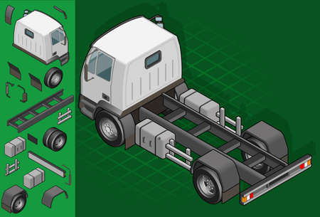 pickup truck: isometric truck solo driving in rear view
