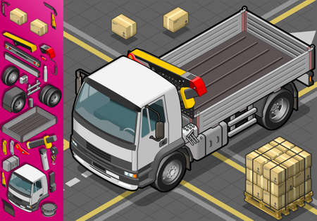 truck crane: Detailed illustration of a isometric container truck  in front view