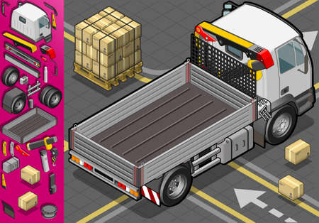 wipers: Detailed illustration of a isometric container truck in rear view Illustration