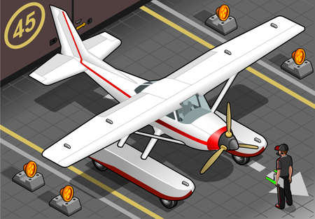 landed: detailed illustration of a isometric landed seaplane out of hangar