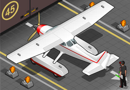 detailed illustration of a isometric landed seaplane out of hangar Vector