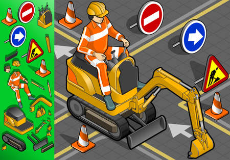 leverage: isometric mini excavator with man at work in front view