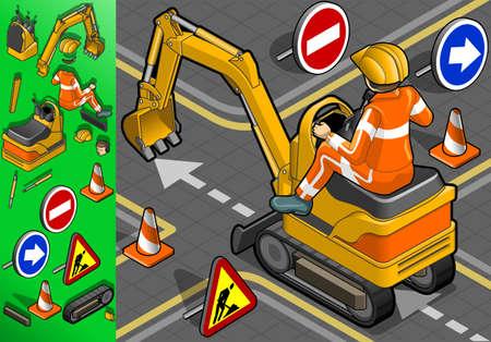 apalancamiento: excavadora isométrico mini con el hombre en el trabajo en la vista trasera