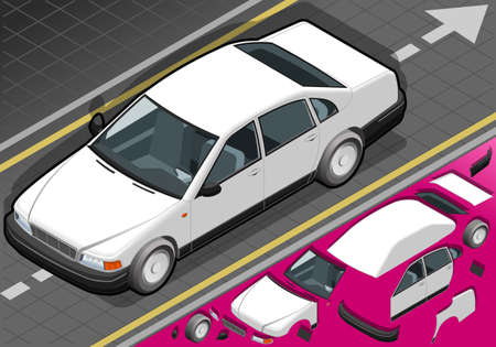 Detailed illustration of a isometric white car in front view