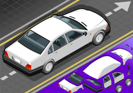 detailed view: Detailed illustration of a isometric white car in rear view