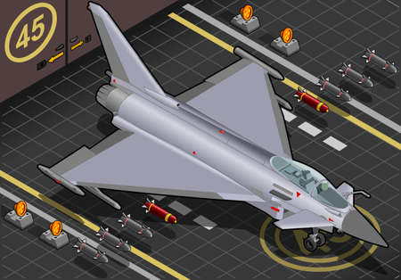 Detailed illustration of a Isometric Eurofighter in front view Vector