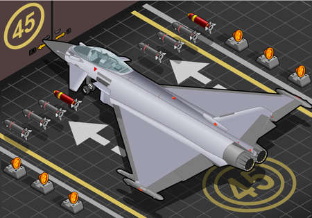 arming: Detailed illustration of a Isometric Eurofighter in rear view