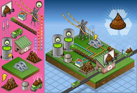 biomasa: Ilustración detallada de una planta de biomasa isométrica en la producción de energía