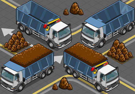 Detailed illustration of a isometric containers trucks Illustration