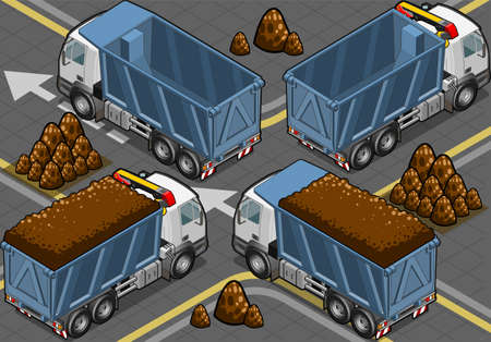 Detailed illustration of a isometric containers trucks Vector
