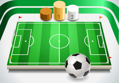 ballsport: Detailed illustration of a set of Soccer Field with Soccer Ball and Podium