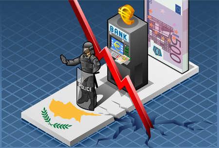 economic depression: Detailed illustration of a isometric concept of economic cyprus depression