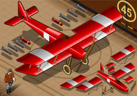 baron: Detailed illustration of a Isometric Red Biplane Landed in Front View